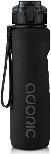 ADORIC Borraccia Sportiva, Bottiglia d'Acqua Sportiva da Palestra con Filtro- No BPA tossica con Cerniera Coperchio (Nero)