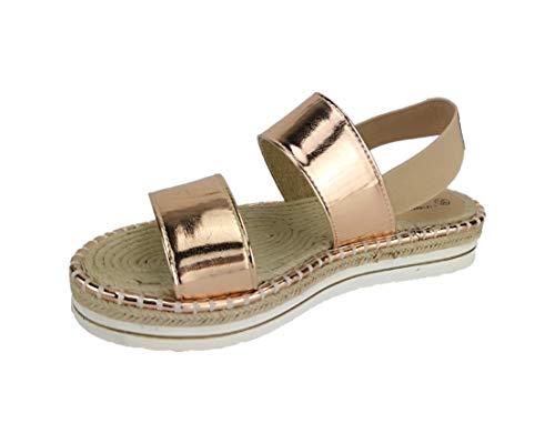 Linea Scarpa Sandaletten PULA geschlossen Gummizug Plateau Bast in Gold, Silber und Bronze: Größe: 38 | Farbe: Bronze