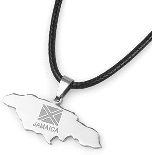 Collar Mapa Colgante Collar para Mujer Plata Acero Inoxidable Jamaica Mapa Bandera Colgante Collares con Cadena De Cuero Joyería De La Amistad Regalo para Hombres Mujeres