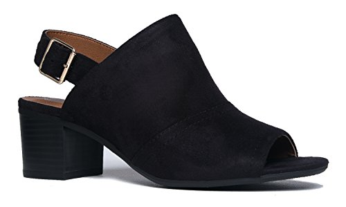 J. Adams Peep Toe Buckle Bootie - Stacked Suede Mule Low Heel - Open Toe Cutout Ankle Strap - Skye