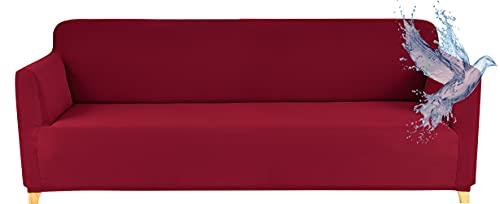 Funda Sofa 3 Plazas Impermeable Fundas para Sofa Elasticas Funda de Sofa Ajustables Antideslizante Protector Fundas Sofa, Rojo (Burdeos) ⭐
