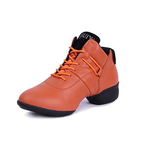 Tanzschuhe Damen Jazz Square Dance Schuhe Herbst und Winter Modern Dance Schuhe Damen Leder Soft Bottom Erhöhte Tanzschuhe (Farbe : Braun, größe : 37)