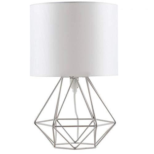 Rindasr Indoor tafellamp decoratie, handgemaakte doek weven lampenkap E27, ijzerdraad plank knopschakelaar, geschikt voor decoratie woonkamer, veranda, slaapkamer zilver