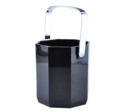 QTQHOME Acryl Eiskübel Achteckig Band Edelstahl Behandeln Eiskübel Kompakt Mit Portable Für Familie Garten Swimming Pool Schwarz 1 L-a 12x11cm(5x4inch)