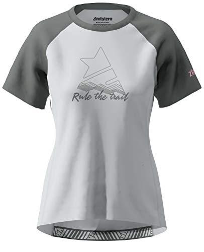 Zimtstern PureFlowz Shirt SS Wmns, Maglietta MTB Donna, Grigio Glacier/Gun Metallizzato/Blush, XL