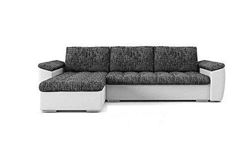 PM Ecksofa Schlaffunktion Bettfunktion Couch L-Form Polstergarnitur Wohnlandschaft Polstersofa mit Ottomane Couchgranitur - NICO-Links (Dunkelgrau +...