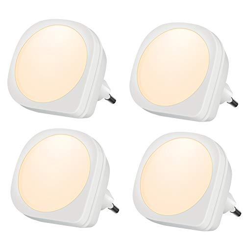 Emotionlite 4 Stück LED Nachtlicht Steckdose mit Dämmerungssensor Kinder Nachtlicht Sehr gut für Kinderschlafzimmer Badezimmer Flur Treppenaufgang Korridor Schrank oder ein dunkles Zimmer Warmeweißes