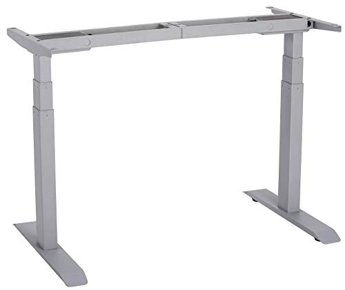UNICOO - Electric Stand Up Desk Frame with Dual Motor, 3 Stage Up Lifting Legs, Rise UP Electric Adjustable Height and Width Standing Desk Frame with 4 Memory Keypad (Frame - Gray)