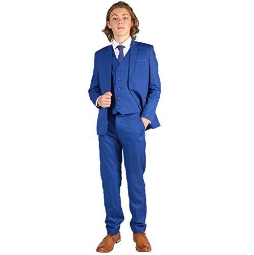 Romario - Traje de boda para niños, color azul eléctrico, de 3 a 6 m a 14 años Azul azul 3-4 Años