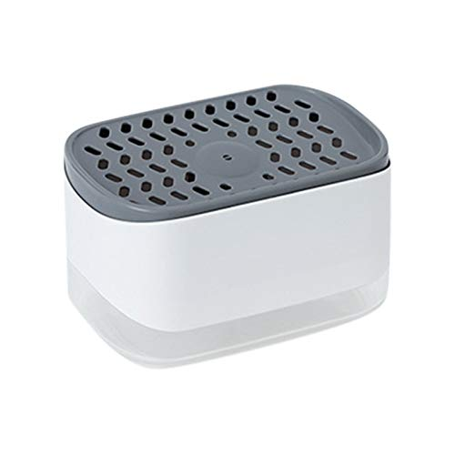 DEGONSGUEG Soap Dispenser Sponge Holder 2 in 1, Dish Soap Dispenser Kitchen Detergent Liquid Box Sponge Holder, Counter Top Sink Dispenser, Instant Refill, Premium Quality, Durable