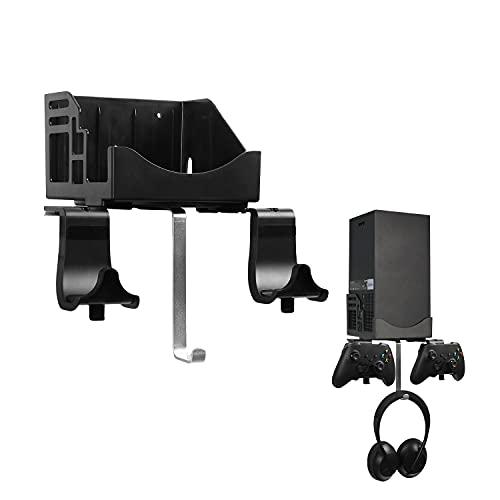 Xbox Series X Muurbeugel set Hosanwell Standaard voor Console Controller en Hoofdtelefoon, Stevige Houder met Waterpas en Antislipmat, Oplaadinkeping Beschikbaar voor USB kabel, Eenvoudige Installatie