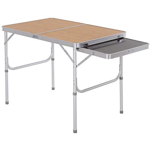 Outsunny Campingtisch Picknicktisch Klapptisch Höhenverstellbar Extra Tischplatte Alu 90 x 60 x 40/70 cm
