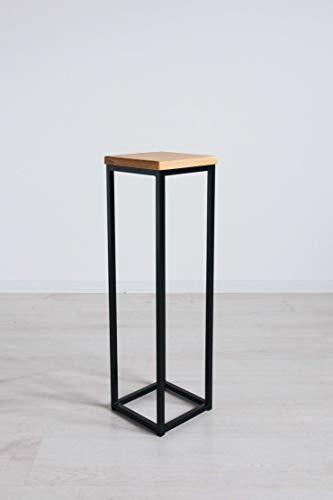 EINE BestLoft Blumensäule Dora aus Eiche - Dekosäule im schlanken Design + Stahlgestell (Gestell Schwarz, Höhe 50 cm)
