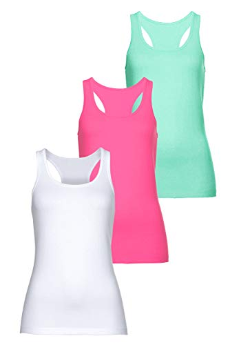 MONYRAY Cotton Essentials Damen Unterhemd Personal Fit Tank Top Racerback 3er Pack(weiß/rot/hellgrün, XXL)