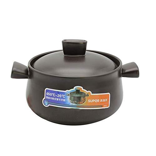 LGR Olla de Barro Redonda, cazuela de cerámica, Olla de Barro, Olla de Sopa con Tapa, Cacerola Resistente al Calor para cocción Lenta, Negro, 1,58 Cuartos