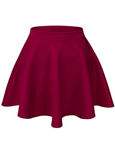 Basic Versatile Stretchy Scuba Flare Skater Short Skirts, Small, Burgundy