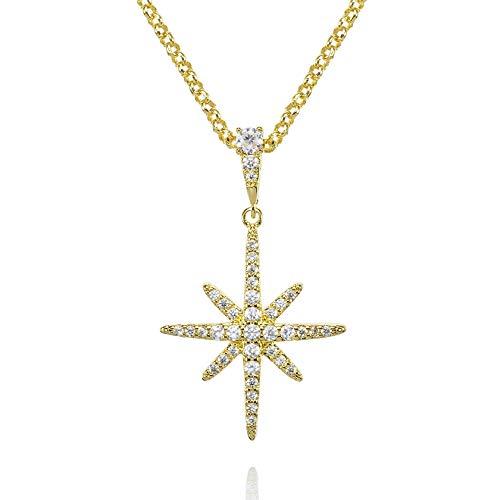 namana Collar de Oro con Colgante Estrella del Norte con Circonitas para Mujer. Collar Estrella de la Suerte Bañada en Oro Amarillo de 18 Quilate con Caja de Regalo
