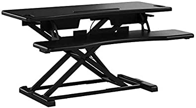 TechOrbits Standing Desk Converter - 37-inch Height Adjustable, MDF Wood, Sit-to-Stand Desk Risers for Dual Monitor Workstation - Home Office Accessories - Black