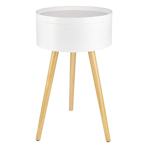 ONVAYA® Mesa auxiliar de madera, color blanco, madera, diámetro de 38 cm, mesa de centro redonda, mesita de noche de pino, espacio de almacenamiento y tapa extraíble, diseño escandinavo moderno