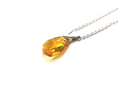 Elegante Silber Halskette Damen Frauen Mädchen Elegante schöne 925 Silber Halskette mit Kristallen von Swarovski® (Light Topaz)
