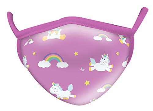 Wild Republic Wild Smiles Youth Face Mask, Reusable Face Mask, Washable Face Mask, Half Face Mask, Unicorns and Rainbows Design