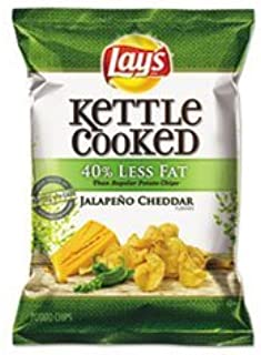 Kettle Lay's Cooked Potato Chips, Reduced Fat Jalapeno Cheddar, 1.375 Ounce (Pack of 64) by Lay's