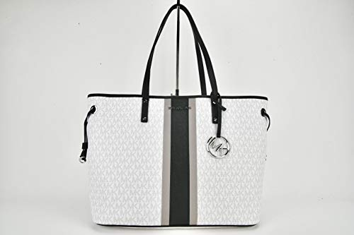 MICHAEL by Michael Kors Large Jet Set Drawstring Signature Tote Optic White Black
