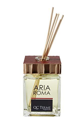QC Terme spas and resorts Aria Roma 250ml, Profumatore per Ambiente con Diffusore a Bastoncini, Fragranza Fresca, Legnosa e Muschiata, Made in Italy