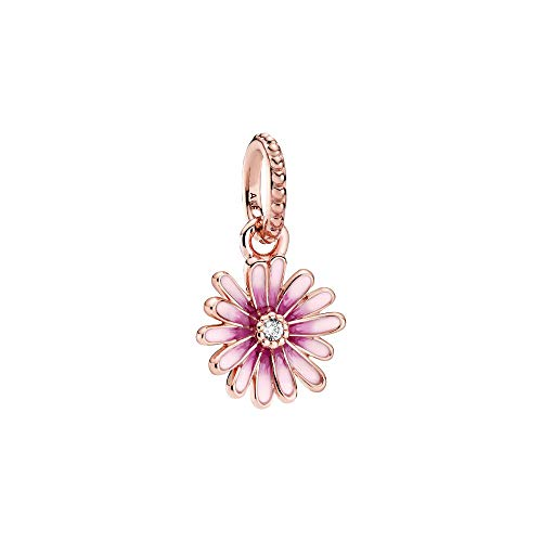 Daisy Pandora Rose dangle with Clear cubic Zirconia and Shaded Pink Amel