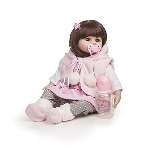 TTHB1 18 Pulgadas Realista Realista Hecho a Mano Ojos Abiertos Muñeca de bebé con Botella de alimentación Silicone Reborn Doll Lifelike Reborn Baby Dolls para niños Juguetes