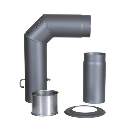 Kamino Flam Winkelrohr-Set gussgrau, Rauchrohr geprüft nach Norm EN 1856-2, Senotherm® hitzebeständig lackiert, Knierohr inklusive Drosselklappe für Regulierung des Kaminzuges, Durchmesser ca. 15 cm