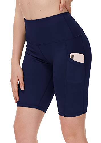 DILANNI Women's Yoga Shorts with Pockets- High Waisted Compression Workout Shorts for Women - Girls Running Shorts with Tummy Control for Athletic Biker Navy