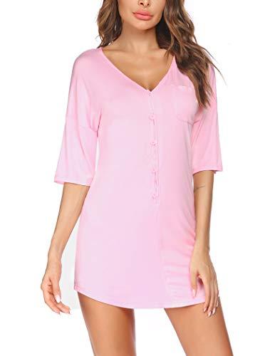 Ekouaer Nachthemd mit Knopfleiste, kurz, V-Ausschnitt, Nacht-Shirts, Damen, Boyfriend-Nachtwäsche, S-XXL, A_pink