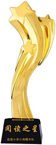HFJKD Pentagram Trophy, Creative Crystal Custom Team Honor Trophy Sales Champion Trophy Trofeo de decoración del hogar, Dorado, 28 * 8 cm