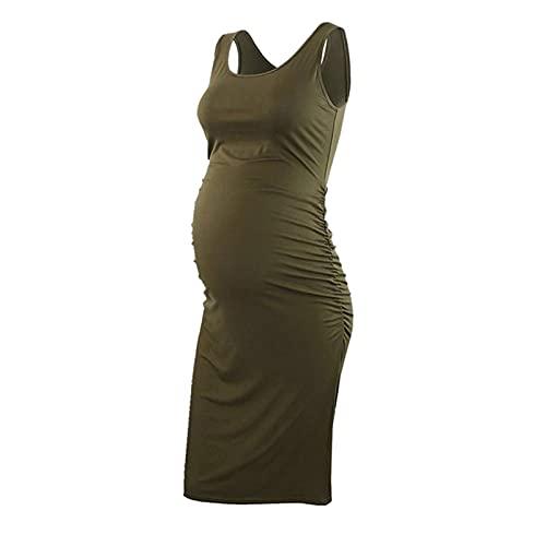 AMhomely Vestidos de maternidad para mujer, vestido de maternidad, cuello redondo, sin mangas, embarazadas, vestido de verano de talla grande, vestido de fiesta bodycon