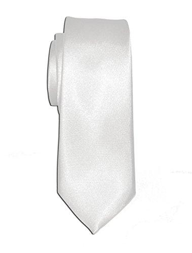 Remo Sartori - Cravatta Stretta Slim in Seta Tinta Unita, Larghezza cm 6, Made in Italy, Uomo (Bianco)