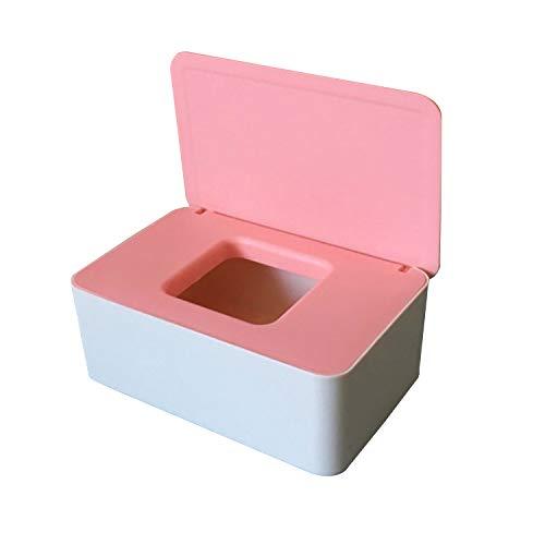 Caja de pañuelos húmedos, caja de almacenamiento, funda de toallitas y caja de plástico de tela (rosa + blanco)