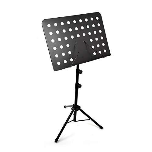 KONFA Robuster Metallmusikständer Verstellbare Höhen Orchesterstativ Tragbarer Klappblatt-Notenbuchständer,Schwarz
