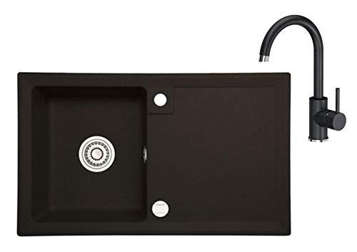 Spülbecken Granit 45x75 cm Einzelbecken Einbauspüle Küchenspüle Spültischarmatur 360°drehbar U- Form Wasserhahn Küchenarmatur Einhebel Kalt-warm