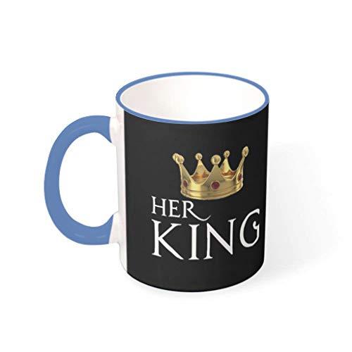 wbinshey Her King Black Cup - Vajilla de cerámica para el hogar y la cocina, color azul de acero de 330 ml
