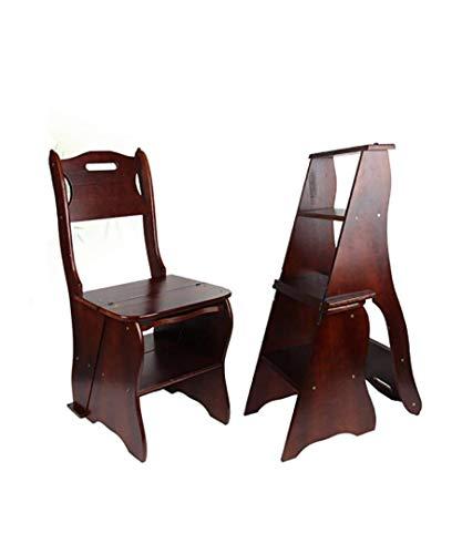 HJW Praktische Schritt Hocker Kleiner Sitz Shoe Bar Ining Restaurant Stufenleiter Stuhl Tische Und Stühle Faltschritts 3 Tier Holz Leiter Ark Nutbrown Massivholzstuhl Laddere,B