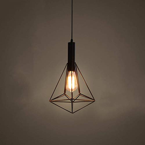 MRTYU-UY Lámpara Colgante de Techo Retro con Pantalla de lámpara de Vidrio de Jaula de Metal, lámpara de araña Negra Industrial para Cocina, Loft, Sala de Estar, Dormitorio