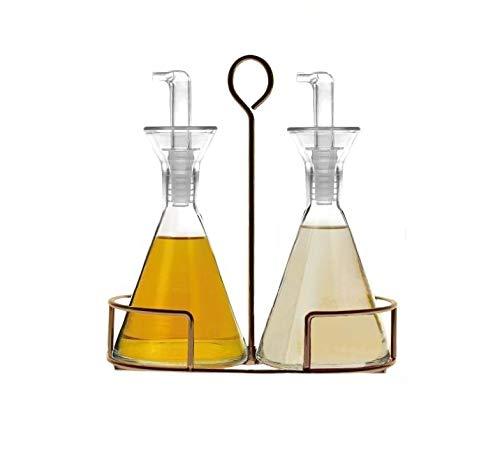 JUALIEN Aceitera vinagrera antigoteo de Cristal con pitorro de Rosca de 250ml con Soporte (2 pzas)
