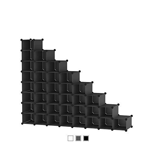 SIMPDIY Organizador Zapatos Modular 32 Cubos para 32 Pares Zapatos Organizador, Estantería de Gabinete Modular para Ahorro de Espacio 32 Cubos Negro(35x22x17cm)