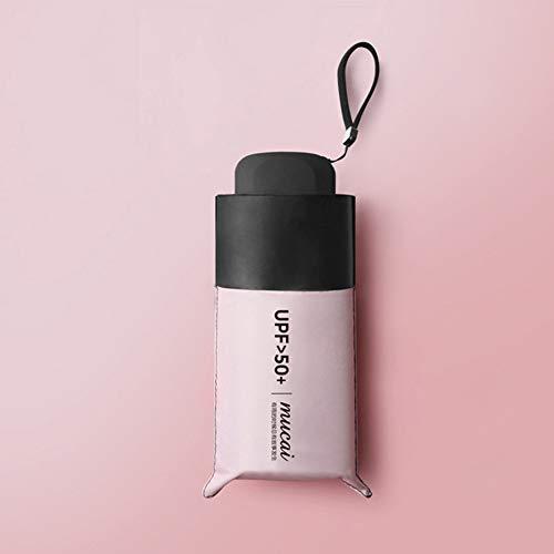 AKDSteel - Mini ombrellone Pieghevole con 5 Tasche Anti-UV, da Donna, Antivento, Portatile, Rosa, 52cm*6K