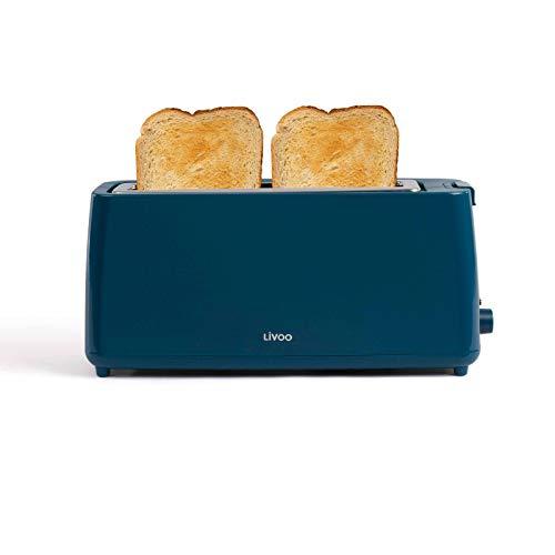 Toaster Langschlitz Türkis Langschlitztoaster Regelbarer Thermostat (Breiter Schlitz, 800 Watt, Bagel, Krümelschublade)