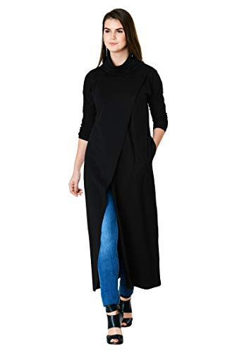 eShakti FX Cotton Knit Asymmetric wrap Tunic Black