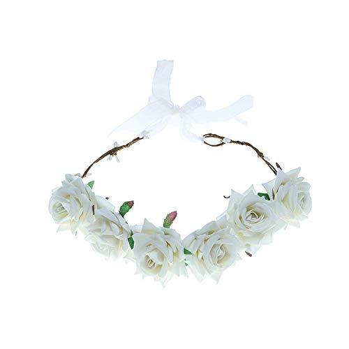 Yazilind Samt Big Rose Blume Handgemachte Braut Brautjungfer Hochzeit Haarschmuck Weiß