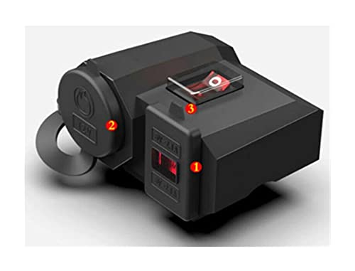 XIAOQIN BOMY Ajuste para 1set Motorcycle 12V USB Cigarrillo Encendedor Kit Suministros de Motocicleta Impermeable Cigarette Encendedor Adaptador de Cargador + Interruptor (Color Name : 12V)