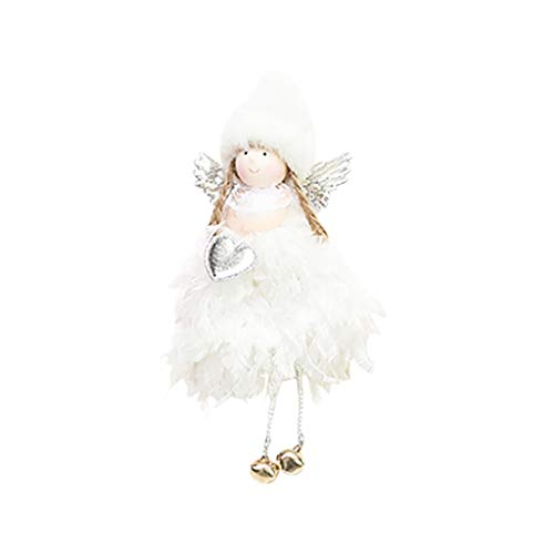 Christmas Pendant White Christmas Decorations Creative Cute Mini Feather Bell Angel